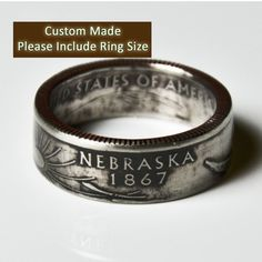 Nebraska Quarter Ring by TheRingTree on Etsy