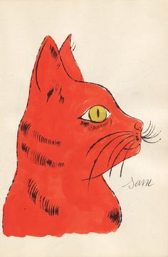 Andy Warhol - Orange Sam with Yellow Eyes, c 1954, lithography with extensive watercolor applied by hand