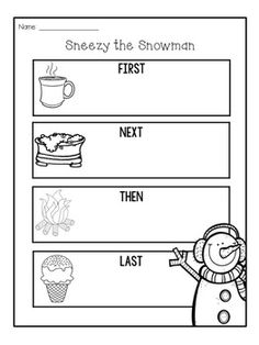What's Included: Reading Response sheet to go with the book Sneezy the Snowman. Kindergarten Writing Activities, 2nd Grade Activities, Preschool Themes, Stem Activities, Literacy, First Grade Writing, 2nd Grade Reading, Sneezy The Snowman, Christmas Worksheets