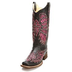 688aa5f109b Corral Pink Wing and Cross Cowgirl Boots - Womens Fashion Boots - Womens  Boot Styles - Cowgirl Boots - Boots