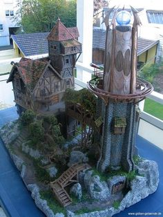 Lovely! Want to have own version with live plants / bonsai / fairy garden instead of fake plants. Would make a version of this as the base - THE Tavern and Library / University Tower...