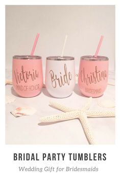 Bridal Party Wine Tumblers - Bridesmaid Gift Ideas - Wine Tumbler Personalized - Bridesmaid Wine Tumbler - Wedding Gift for Bridesmaid #affiliate #bridesmaid #weddings