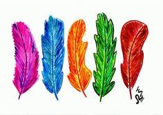 Watercolor print Watercolor feather Colorful by RSwatercolor