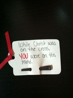 A little tag and a nail is all this takes. What a powerful message! Object Lessons, Bible Lessons, Retreat Ideas, Kids Church, Church Ideas, Prayer Stations, Christian Crafts, Church Activities, Christ
