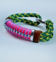 neon pink and green rope bracelet, $50
