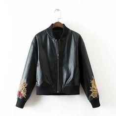 >> Click to Buy << Women Leather Jacket 2017 Spring Faux Leather Baseball Jacket Fashion Large Flowers Embroidery Long Sleeve Women Bomber Jacket #Affiliate