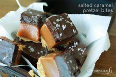 Sinful chocolate caramel pretzel bites