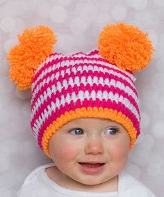 Cute - color & style inspiration -  Pink & Orange Stripe Crochet Beanie