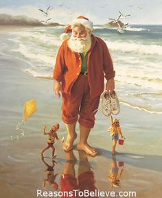 "A Day at the Beach  -  canvas giclee print.  A Day at the Beach canvas print. This Santa Claus print uses the giclee printing process (fade resistant archival inks and special printers) to allow our prints to look as close to the original as possible. The canvas print is then stretched and mounted to an archival quality board and measures 11"" X 14""."