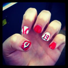 My Cincinnati Reds Baseball Nail Art :)