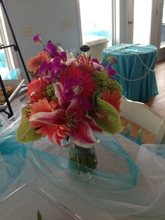 Bright tropical wedding bouquet.