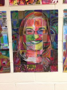 Art teacher took pictures of each teacher, cut a photocopy into squares and then had each child color a square.