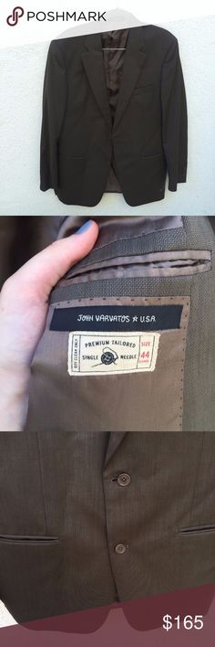 John Varvatos Long Premium Tailor Suit Jacket John Varvatos Men's Suit Jacket Blazer Long Brown Gray Premium Tailor Single Needle  Size 44 There are a few very small stains. John Varvatos Suits & Blazers Sport Coats & Blazers