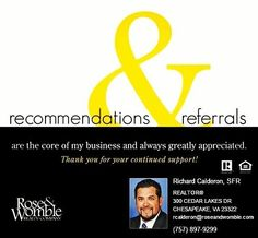 I take Referrals very seriously. I know I'm representing you! I want to provide the best possible real estate experience to make you look good! Thanks for your TRUST. #realtor #realestate #chesapeake #virginiabeach #757realtor #757 #home #homesearch #forsale #trust #experience