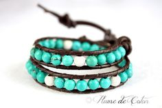 Turquoise and sterling silver leather wrap necklace