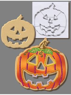 7.5 Inch Pumpkin Cookie Cutter With Interior Cut Outs - Jack O' Lantern (#5873) #RM