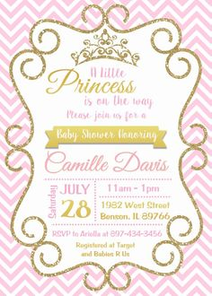 princess pink and gold baby shower invitation digital or printed