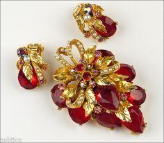 Vintage Signed Art Marked Openback Red Rhinestone Floral Leaf Brooch Pin Set 60s | eBay