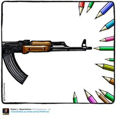 Cartoons created by illustrators in the wake of the Charlie Hebdo office shooting attack