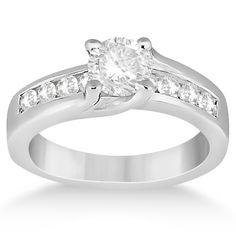Unique Channel Set Diamond Engagement Ring 14k White Gold (0.80ct)-Allurez.com