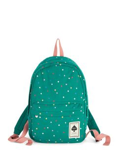 Shuffle Through Your Day Backpack - Green, Multi, Print, Scholastic/Collegiate, Good, Woven, Travel