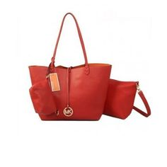 Cheap Michael Kors Charm Logo Large Red Totes Outlet Women Sale.