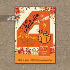 4th Birthday Invitation – Pumpkin Birthday Invitation