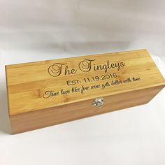 Wedding gift for couple, Bride and Groom gift, personalized wine box, wine box with 4 tools, custom engraved wine box.