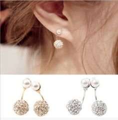 New Fashion Crystal Pearl Double Earrings Gold/Silver Brincos Charming Jewelry Earrings ER625