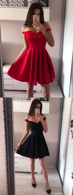Red Sleeveless Simple A-line Off-shoulder Short Prom Dress, Homecoming Dresses, Cute Homecoming Dresses, Hoco Dresses, Junior Dresses, Trendy Dresses, Sexy Dresses, Cute Dresses, Evening Dresses, Fashion Dresses, Formal Dresses