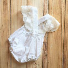 White Ivory Cream Ruffle Criss Cross Back Romper Sunsuit for Newborn Baby Toddler Girl for Pictures Birthday