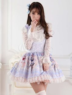 Robe à bretelles lolita en polyester imprimé avec dentelle - Milanoo.com