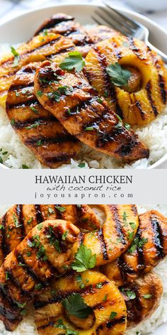 Hawaiian Chicken, Pineapple and Coconut Rice - delicious Polynesian dinner! A flavorful and easy recipe combining grilled or pan fried chicken, grilled pineapple and coconut rice. A yummy Spring and Summer meal filled with tropical flavors! #dinner #easydinner #chicken #pineapple #rice #tropical #Spring #Summer #grilling #grilled #meal #recipe #joyousapron