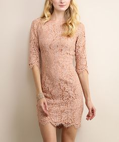 Love this Dusty Rose Floral Lace Bodycon Dress on #zulily! #zulilyfinds