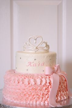 tiara and ruffles baby shower cake