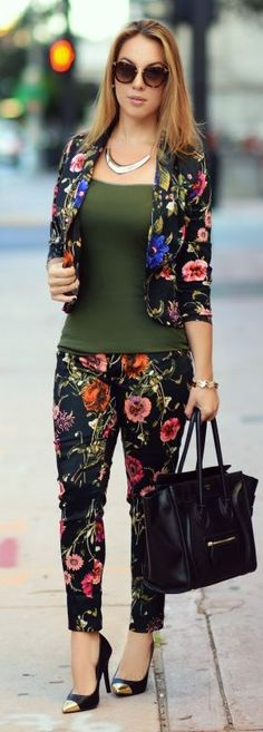 Black Multi Floral Suit by Chic Fashion World
