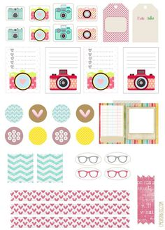 Lists and stickers, banners and frames printables for your planners with glasses and camera themes (lenses? Agenda Planning, To Do Planner, Free Planner, Planner Pages, Happy Planner, Agenda Planer, Planer Organisation, Printable Planner Stickers, Planner Template