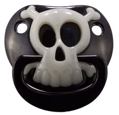 Novelty Baby Pacifer, LIL PIRATE SKULL (Black), Silicone, Baby Dummy Soother