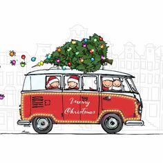 Kerstkaart VW busT1 2kind - Kerstkaarten - Kaartje2go