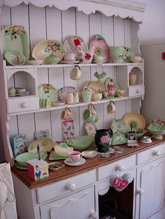 LOVE this adorable hutch and the carltonware china:  by minxymagic on flickr