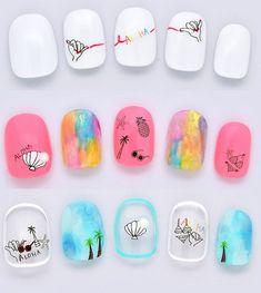 Nail Polish Designs, Nail Art Designs, Spring Nails, Summer Nails, Aloha Nails, Luv Nails, Rainbow Nail Art, Short Nails, Nail Arts