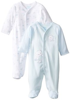 Little Me Baby-Boys Newborn Playtime 2 Pack Footie, White/Light Blue, 3 Months