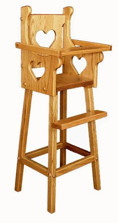 Amish Oak Wood Doll Highchair with Heart - Diy wooden toys plans - Diy Wooden Toys Plans, Wooden Diy, Wooden Baby High Chair, Wood High Chairs, Doll High Chair, Cute Desk Chair, Upholstered Swivel Chairs, Farmhouse Dining Chairs, Amish Furniture