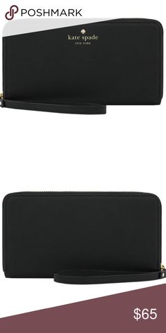Kate Spade New York Zip Wristlet - Holds Phone Users can show off their personal style with the playful sophistication of Kate Spade New York. The Kate Spade Zip Wristlet bag doubles as a wallet with additional compartments to store cash, credit & ID.  Product Features:  Dedicated storage for phone Zippered closure & signature gold detailing Wrist strap for added convenience & style Manufacturer's Part Number: KSIPH-018-SBLK kate spade Accessories