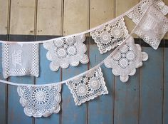 Vintage Doily Bunting. Crochet Vintage doilies by buntingboutique, just too cute