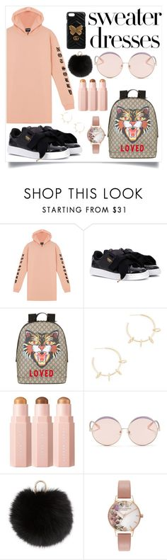 """Untitled #125"" by fashionista-z-cx ❤ liked on Polyvore featuring Puma, Gucci, Justine Clenquet, N°21, Yves Salomon, Olivia Burton and sweaterdresses"