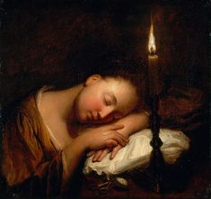 A girl sleeping, Musée des Beaux-Arts de Nantes Jean-Baptiste Santerre (French, (Formerly attributed to Godfried Schalcken - Formerly attributed to Arnold Boonen) Classic Paintings, Old Paintings, Amazing Paintings, Nantes France, Tableaux Vivants, Dutch Golden Age, Girl Sleeping, Jean Baptiste, Fine Art