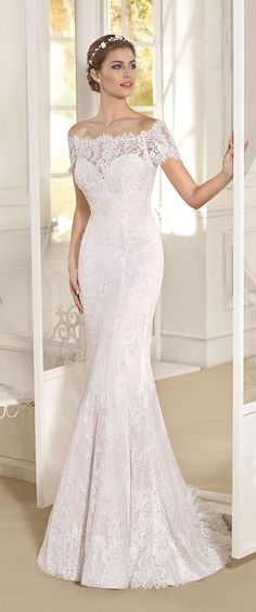 Lace Off The Shoulder Fitted Wedding Dress with detachable skirt by Fara Sposa 2017 Bridal Collection Designer: Fara Sposa SEE POST SEE GALLERY