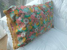 Hand made cotton pillowcase with crochet trim