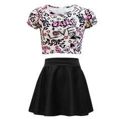 f14363e6 Kids Girls Love Graffiti Crop Top & Black Skater Skirt Set 7 8 9 10 11 12  13 Yr